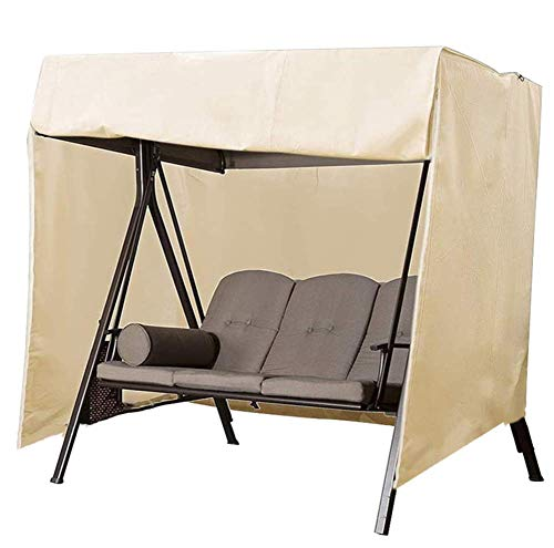 Patio Swing Cover Outdoor 3 Seater Hammock Patio Swing Chair Cover 420D Oxford Fabric Glider Canopy Cover All Weather Protection for Outdoor Furniture 220 X 125 X 170cm Beige