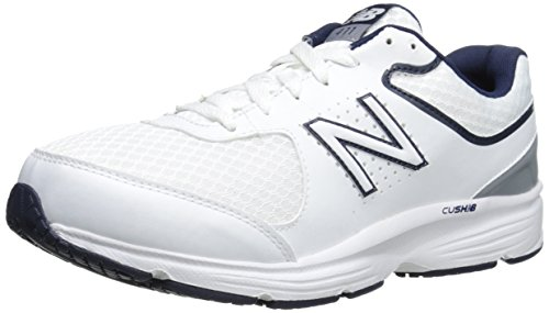 New Balance Men's MW411v2 Walking Shoe, White/Blue, 7 D US