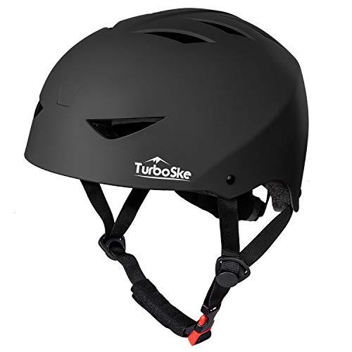 TurboSke Skateboard Helmet, CPSC-Compliant Bike Helmet BMX Helmet Multi-Sport Helmet for Youth Men and Women (S/M, Matte Black)