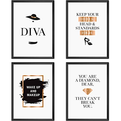 Mia Félice Poster-Set Collage DIN A4 Fashion Diva - schwarz-weiß Rose-Gold - Dekoration Wohnung modern - Wand-Deko Wohnzimmer - Tumblr Zimmer Wand-Bild - Wand-Bilder Schlafzimmer - ohne Bilderrahmen