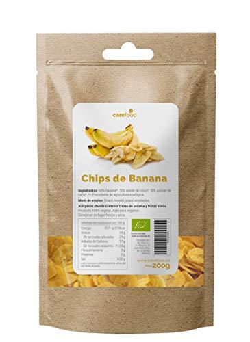 Chips de Plátano ecológico 200gr Carefood | 100% natural BIO | Horneados en aceite de coco | Snack natural y sano | Packaging Compostable 100% sin plásticos