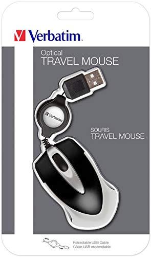 Verbatim Go Mini USB - optische Travel Maus mit Kabeleinzug, schwarz