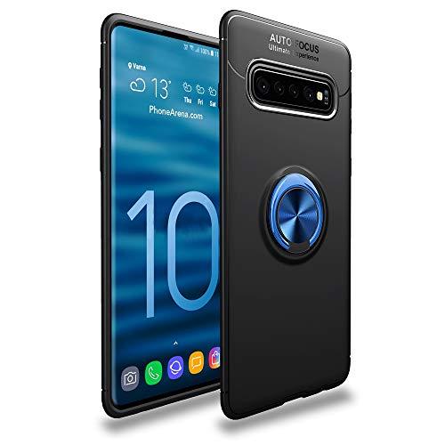 CASEWRS Hülle für Samsung Galaxy S10zurück, Ultradünne TPU Handyhülle fit weiche TPU Telefon Abdeckung Schutz mit fingerring Halterung,Schwarz + Blau