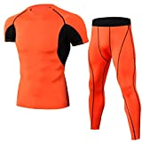Sports Set Men's Elasticity Quick-Drying T-Shirt Gym Pro Workout Clothe Set-Compression Running Clothing Summer 10 XL