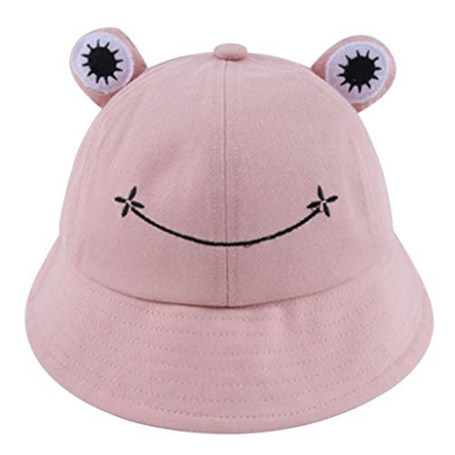 KAMONDA Niños Niños Cute Cartoon Rana Animal Bucket Hat Color sólido ala Ancha Protección Solar Empacable Ajustable Playa Vacaciones Gorra de Pescador