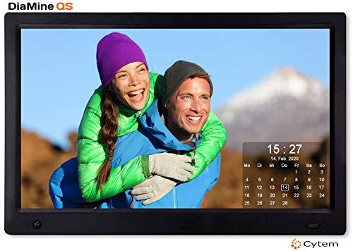 Cytem 13.3 Zoll Digitaler Bilderrahmen | 16:9 Full HD-IPS Display | Bewegungssensor | Transparente Kalender | korrekte Bilddrehung und Größenanpassung | Gemischte Diaschau | min.10.000 Fotos | Schwarz
