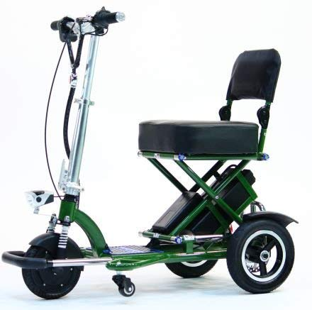 New TRIAXE SPORT Foldable Electric Mobility Scooter + Cane & Cup Holder (Green)