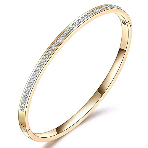 YFZCLYZAXET Pulseras Brazalete Joyería Mujer Pulseras De Joyería De Moda Pulsera De Acero Inoxidable con Diamantes De Imitación De Cristal Accesorios para Mujer-82524