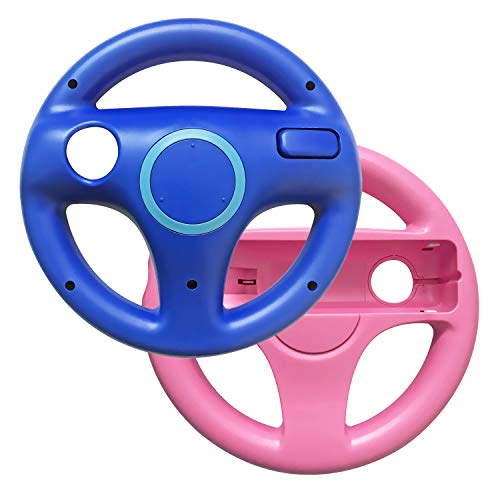 AreMe 2 Pack Racing Steering Wheel for Wii and Wii U Remote Controller (Pink+Blue)