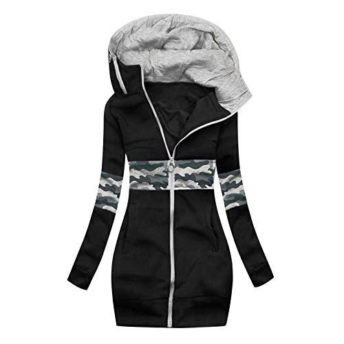 MRULIC Damen Kapuzenpullover Sportswear Outwear Langarm Warm Bequem Kapuzenjacke Herbst Winter Sweatshirt Mantel Jacke Tops Hoodie Sportswear Kapuze Sweatjacke(A4-Schwarz,2XL)