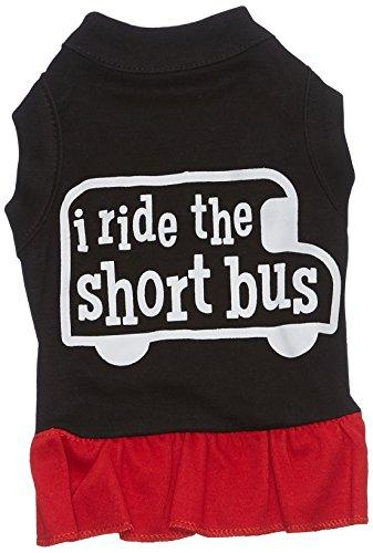 Mirage Huisdier Producten Ik Ride De Korte Bus Screen Print Jurk, X-Large, Zwart/Rood