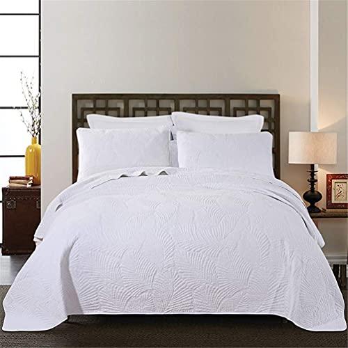 SENWEI Colcha de edredón de Hotel en Relieve Acolchado de Calidad para Cama Doble/King, 2 tamaños, Blanco, 230 y Veces; 250 cm