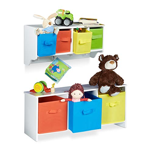 Relaxdays 2 TLG. Kindermöbel Set Albus, Wandregal für Kinder, Sitzbank mit Stauraum, Wandgarderobe 4 Kleiderhaken, Faltbox, weiß
