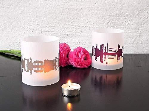 Stuttgart Skyline Windlicht 2er Set Lichthülle - Tischlicht Geschenk-Idee Deko personalisierbar mit eigenem Namen Text Datum Spruch Botschaft