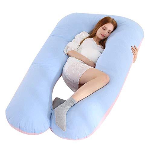 AYDQC Almohada de dormir lateral con logotipo, soporte de cintura, almohadilla de dormir lateral, soporte de estómago en forma de U, a juego de dos colores (color: rosa) fengong (color: púrpura)