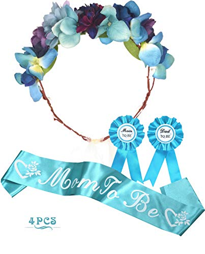 Baby Shower Decoration for Boy, Mother To Be Flower Crown Tiara, Mommy to be Sash and Mom to be Pin, Dad To Be Pin, Baby Shower Party Favors Decorations Supplies Gifts for Boy