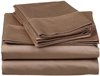 sheetsnthings Solid 300 Thread Count, Pure Cotton Olympic Queen Size Bed Sheets (Taupe) Soft, Deep Pocket, 4PC Extended Queen Sheet Set