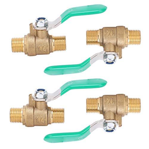 Válvula de agua de latón, válvula de bola de 1/4 pulg, 4 uds, Interruptor de latón para sistema de tubería de gas interior para sistema de tubería de agua fría