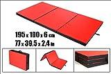 Tapis de Fitness et Yoga Tapis Exterieur Matelas de Sol Fitness Équipement Tapis de Gymnastique Epais Tapis de Sport Tapis Antiderapant Matelas Pliable Tapis 195 x 100 x 6 cm (Rouge et Noir)