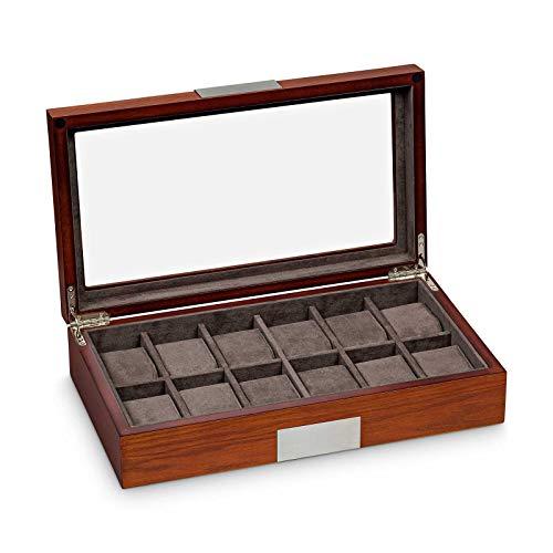 Hermann Jäckle - Uhrenbox Freiberg I Uhren-Box für 12 Uhren I Uhrenbox Holz I Uhrenkasten matt mit Mahagoni-Dekor I Uhrenaufbewahrung I Uhrenbox für Armbanduhren I Uhr-Box I Uhrenetui