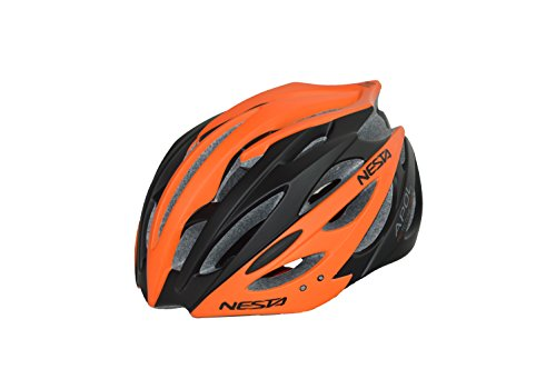Nesta Apol Casco de Ciclismo, Unisex Adulto, Negro/Naranja, M/L