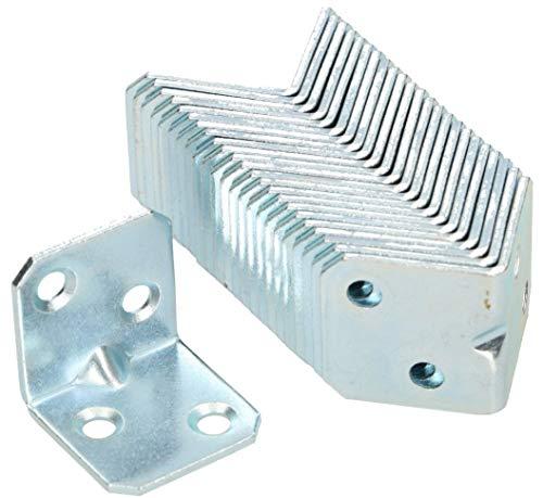 KOTARBAU Winkelverbinder 25 x 25 x 25 mm Sicke Stahl Bauwinkel Montagelöcher Möbelwinkel Verzinkt Schwerlast Holzverbinder Montagewinkel Stuhlwinkel (100)