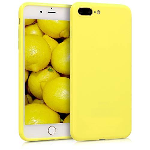 kwmobile Custodia Compatibile con Apple iPhone 7 Plus / 8 Plus - Cover in Silicone TPU - Back Case per Smartphone - Protezione Gommata Giallo Chiaro Matt
