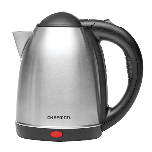 Chefman Stainless Steel Electric Kettle Quickly Heats Water Separates from Base for Cordless Pouring, Auto Shut Off Boil Dry Protection, BPA-Free Interior & Cool-Touch Handle, 1.7 Liter/1.8 Quart