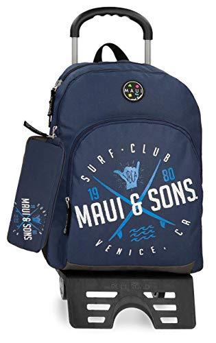 Maui & Sons Shaka Mochila con carro doble compartimento + estuche escolar, color Azul Marino