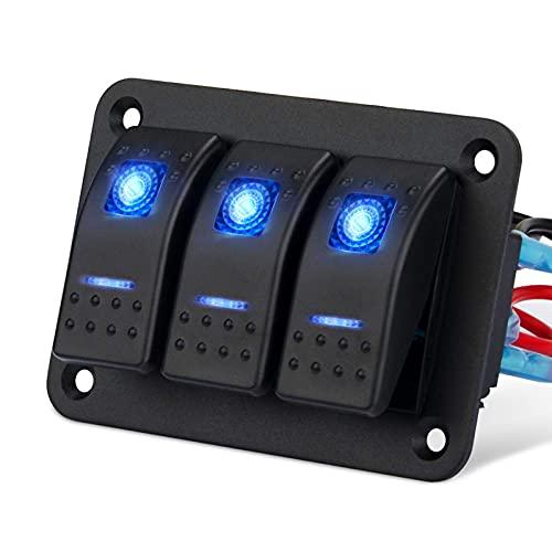 RUIZHI 3 Gang Panel de Interruptores Basculantes 12-24V Interruptor de la Palanca Impermeables con luz LED Azul Rocker Switch para Barco Camion