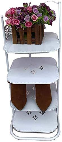DNSJB - Zapatero de 4 niveles, soporte de flores de hierro para puerta de entrada, organizador de gabinetes de almacenamiento, zapatero para ahorrar espacio (color: blanco)