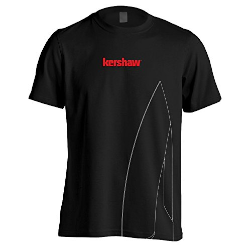 Kershaw XXL Short Sleeve Black Tee Shirt with Medium Knife Blade Silhouette and Red Logo; Taped Shoulders; Double Needle Stitching at Collar; Tag-Free Neck Label; 100% Preshrunk Cotton