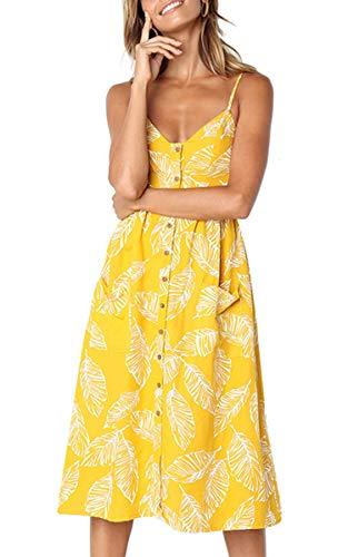 Angashion Damen V Ausschnitt Spaghetti Buegel Blumen Sommerkleid Elegant Vintage Cocktailkleid Kleider, Größe: XXL, Farbe: 650 Gelb