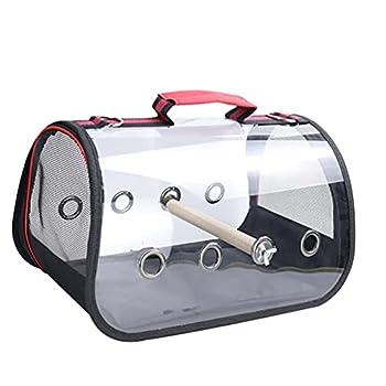 Mengyu Cage De Transport pour Perroquet, Portable Cage de Voyage Respirante Transparente avec Support en Bois Sac À Main Perroquet (Noir, 73 * 24 * 28cm)