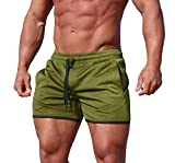 URRU Men's Gym Workout Shorts Running Athletic Short Pants Fitted Training Bodybuilding Jogger Short with Pockets Army Green L