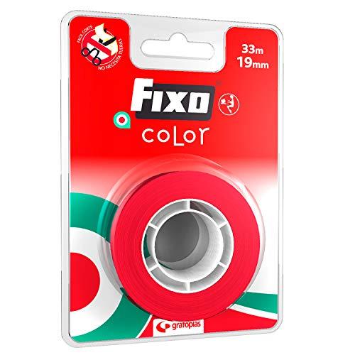 Fixo Color 75088351. Cinta Adhesiva, Color Rojo, 19mmx33m, Perfecta para Manualidades
