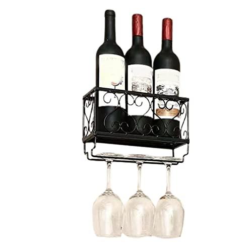 Xuebai Soporte de Vidrio para Botellas de Vino montado en la Pared con Organizador de Colgador de Vasos de Copa Negro