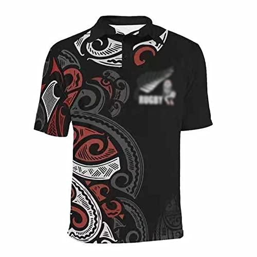 Speed-SY Camiseta De Rugby De Nueva Zelanda, Copa del Mundo Maori All Blacks Camiseta Polo De Manga Corta para Hombre Camiseta Informal Ropa De Entrenamiento Deportivo