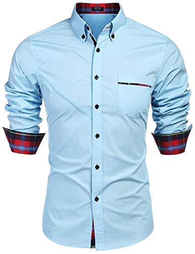 Hemd Herren Langarm Regular fit Hemden Herren einfarbig Shirt mit Kent Kragen Kontrast Freizeit Hemden