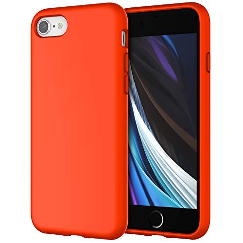 JETech Silicone Hülle Kompatibel iPhone SE 2020, iPhone 8 & iPhone 7, seidigem Ganzkörper-Schutzhülle, mit weichem Mikrofaser-Innenfutter stoßfestes Abdeckung, Orangerot