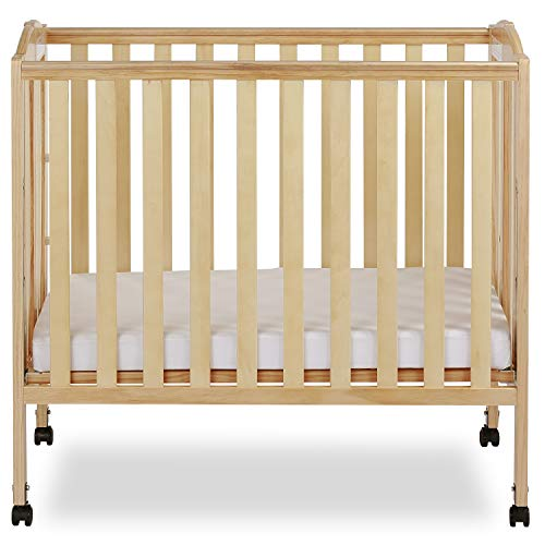 Dream On Me 3 in 1 Portable Folding Stationary Side Crib in Natural, Greenguard Gold Certified