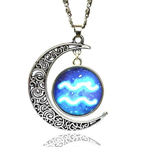 Halsketting voor Aquarium VENURY 08 sterrenbeeld en maan Aquarius Oroscopo