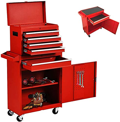 5-Drawer Tool Chest, Detachable Rolling Tool Storage Box, Large Tool Chest with Sliding Drawers, Garage Tool Box with Wheels, 2 in 1 Multi-purpose Tool Organizer for Home (Red)