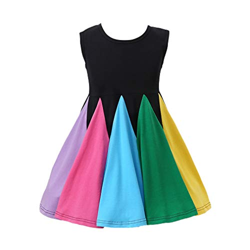 Toddler Girl Rainbow Stitching Dress Baby Sleeveless Girls A-line Dress Princess Gown Birthday Party Dresses (2-3T)