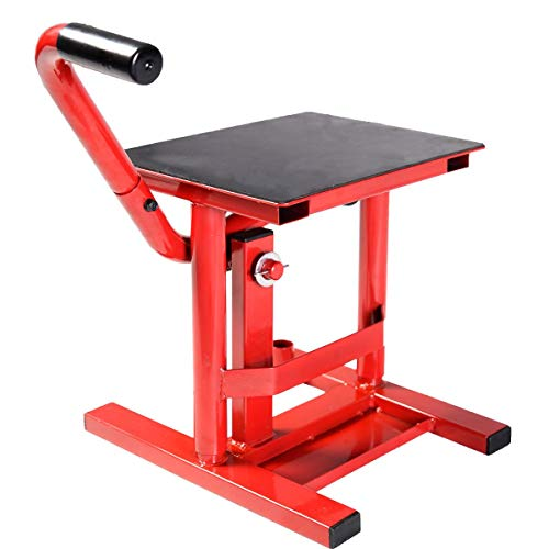 Comie Motorcycle Racing Offroad Motocross Dirt Adjustable Bike Steel Lift Jack Stand (Red)