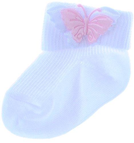 La Bortini Baby Umschlagsocken Söckchen Strümpfe Weiß Taufe mit Schmetterling (19/20)