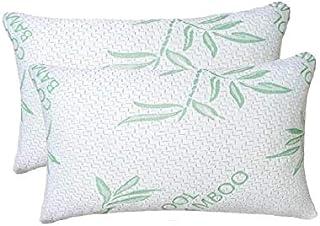 ComfySleep 2 unidades King Bamboo almohadas, Shredded Memory Foam almohada ajustable con hipoalergénico, extraíble / lavable bambú Rayon Zipper Cover (King 2 Pack)