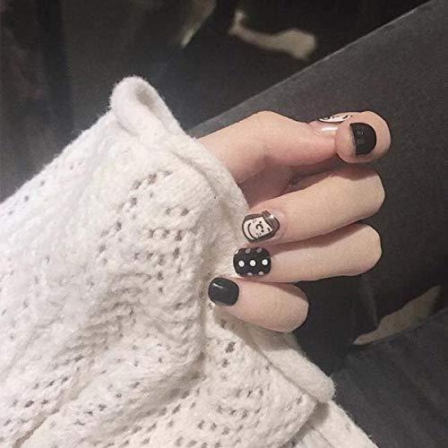 Faux ongles 24pcs faux ongles avec un motif Black Fake Nail Creative Head Full Cover Round Head court mat faux ongles appuyez sur