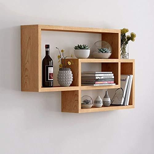 Wandrek van massief hout, creatief roosterrek voor de muur, slaapkamer, woonkamer, opbergrek Houtkleur.
