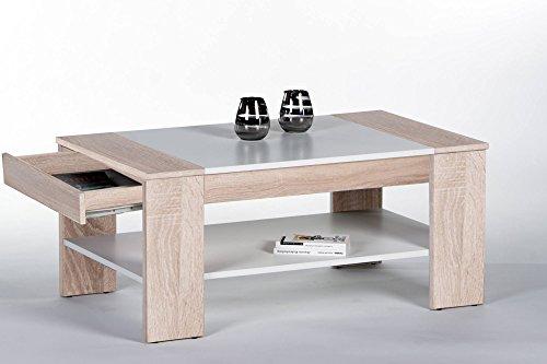 lifestyle4living Couchtisch aus Sonoma Eiche Dekor mit Schublade und Ablagefach | Schöner Wohnzimmertisch für gemütliche Wohnzimmer